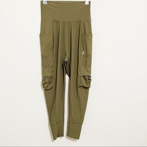 Free People Green Cargo High Waisted Slouchy Pants